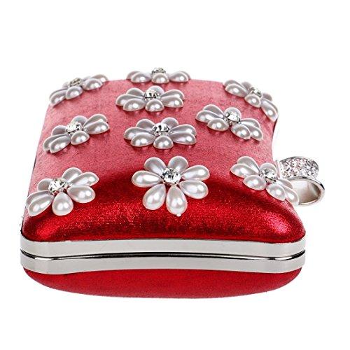 Nieve Señoras Cvthfyk Monedero Lujo De Las Mujeres Hombro color Red Bolsos Embrague Copo Banquete Bolso Noche Del Crossbody Red xqwYpS6fq
