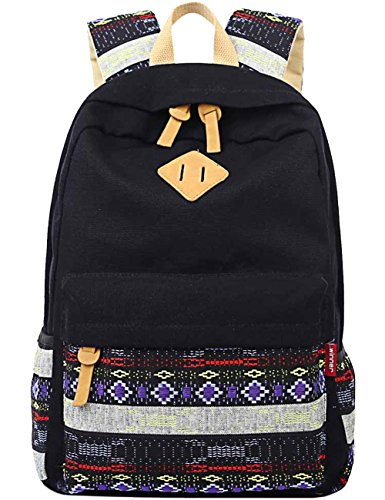 (Black Canvas School Bag Backpack Girls, Mygreen Bohemia Boho Style Unisex Fashionable Canvas Zip Backpack School College Laptop Bag for Teens Girls Students Casual Lightweight Travel Daypack Outdoor)