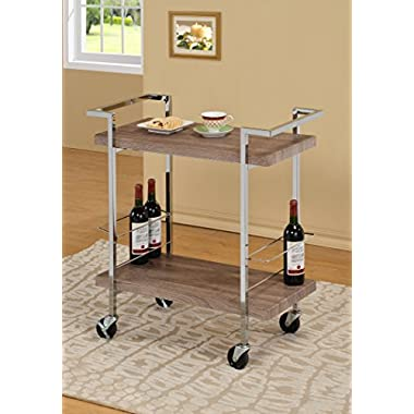 Reclaimed Wood Look Chrome Metal Bar Tea Wine Holder Serving Cart