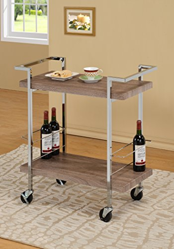 Modern Bar Cart (Reclaimed Wood Look Chrome Metal Bar Tea Wine Holder Serving)
