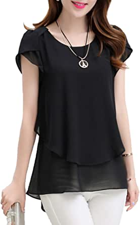 Summer Womens Blouse Fashion Loose Solid Flare Sleeve Top Chiffon Round Neck Short Sleeve Shirt