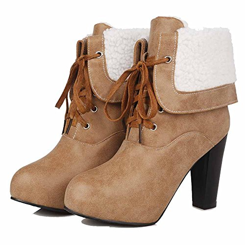 AgooLar Women's Round Closed Toe High-Heels PU Low-top Solid Boots Brown cmiMvl