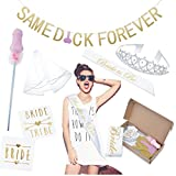 Bachelorette Party Supplies Kit: Bridal Shower Decoration Set, Naughty Hen Party Decor - Bridal Sash, Tattoos, Veil, Rose Gold Same D Forever Banner & Dirty Wand for Bride to be & Bridesmaids …