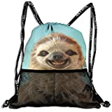Mr.Roadman 3D Print Leisure Bundle Backpack Cute Sloth Funny Graphics Portable Drawstring Bag Travel Bag Yoga Runner Daypack Polyester Shoe Bags