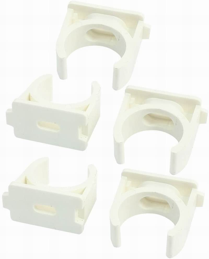 Houseuse 5Pcs 25mm White PVC-U Pipe Push Snap in Clip Clamps for Water Supply