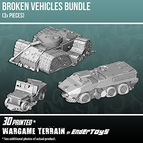Broken Vehicles Bundle, Terrain Scenery for Tabletop 28mm Miniatures Wargame, 3D Printed and Paintable, EnderToys