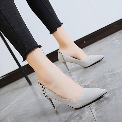 Fine Spring Heels Female With Pointed With Shoes Rivet And Summer High Women'S Jqdyl Shoes Single High New heels Grey XwHqW0Z