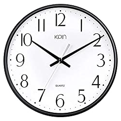 Kpin Black Wall Clock Silent Non Ticking 11 Inch Quality Quartz Battery Operated Round Easy to Read Home/Office/School Clock (Black, 11)