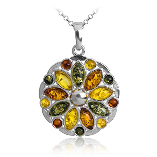 Sterling Silver Multicolor Amber Flower Pendant Chain 18 Inches
