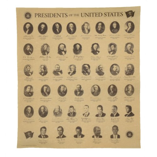 Presidents of The US on Antiqued Parchment Paper Historical Document Poster (Was Bill Clinton A Democrat Or Republican)