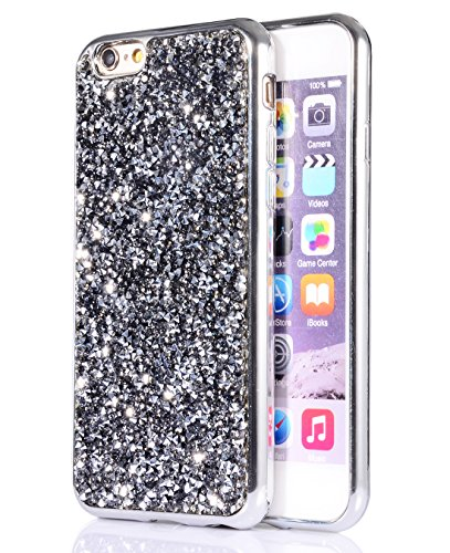 Rhinestone Iphone (iPhone 6s/6 case, FLYEE Bling Crystal 3D Diamond Pattern Sparkly Handmade Rhinestone Soft TPU Silicone Bumper Cover Perfect Fit for Apple iphone 6s 4.7)