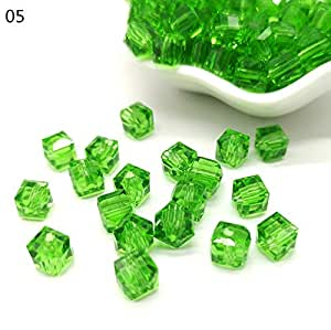 6mm Crystal Glass Beads Accessories for Jewelry Making, Square Shape Crystal Cube Glass Beads,20 pcs/lot,5