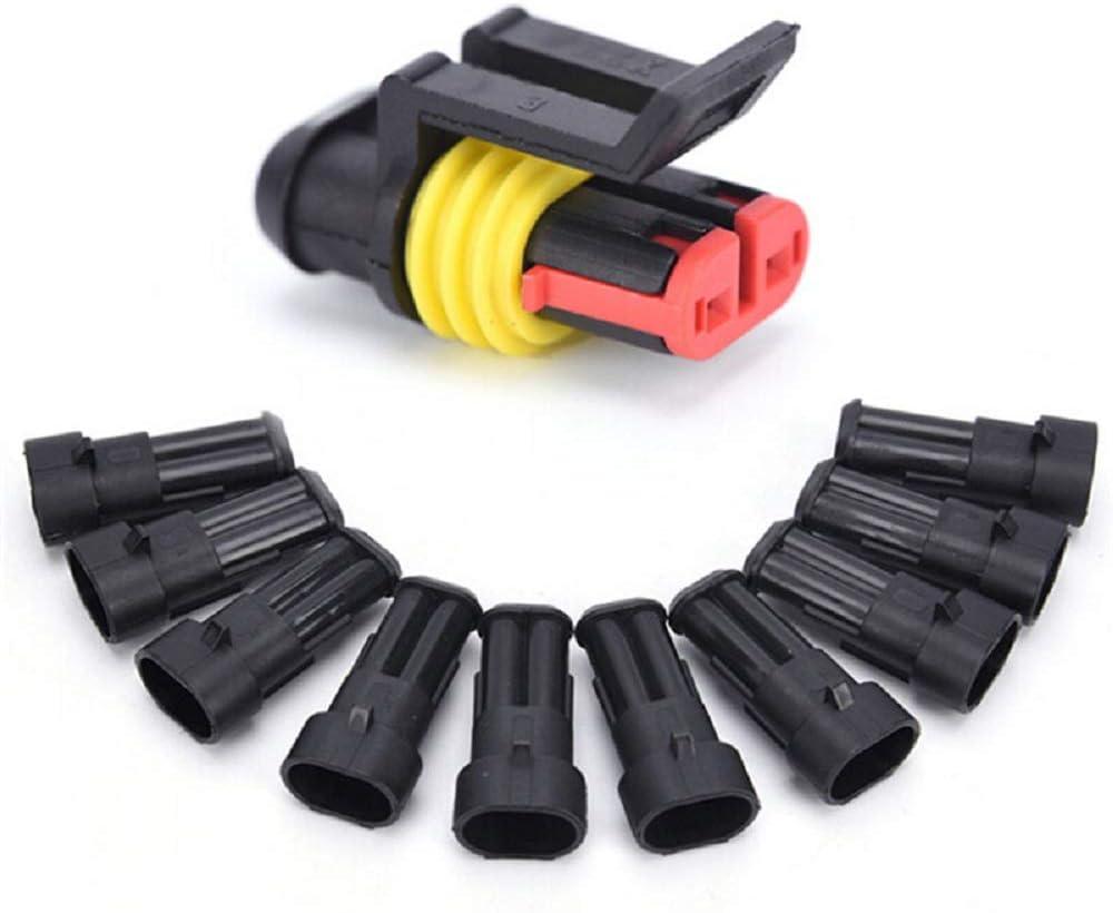 Lot de 5 connecteurs /électriques /étanches /à 2 broches avec fil AWG Noir marine