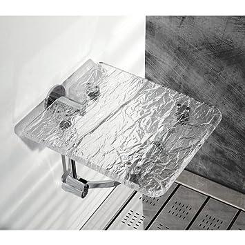 Toscanaluce Wall Mounted Ice Effect Plexiglass Bathroom Folding Stool K131 Amazing Design