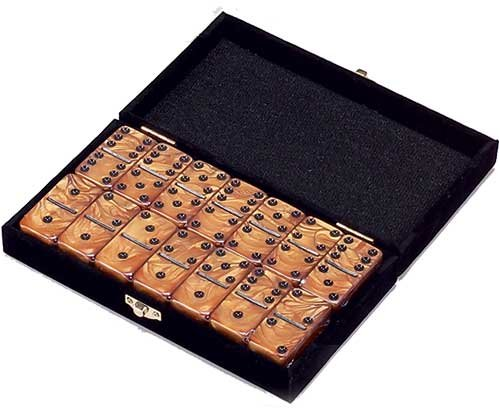 Double 6 Dominoes Set (Domino Double 6 Gold Marbleized Tiles Jumbo Tournament Size)