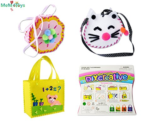Sewing Kit for Kids Beginners 3 Pack Girls Sewing Project Pattern Bag Handbag by MeMo Toys (Set 1)