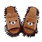 Floor Mopping Slippers, Cartoon Bear Chenille Microfibre Washable Mop Slippers, Dust Mop Slippers for House Cleaning