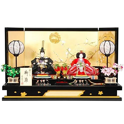 雛人形 親王平飾り 【万葉A】セット(2人)[幅80cm] 黒金塗[sb-8-98] 雛祭り   B07KVWGV9Z