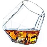 Dragon Glassware Diamond Whiskey Glasses - Tilted Old Fashioned Tumblers for Whiskey, Wine, Bourbon, Scotch, Brandy - 10 Ounces, Set of 2 (Gift Boxed)