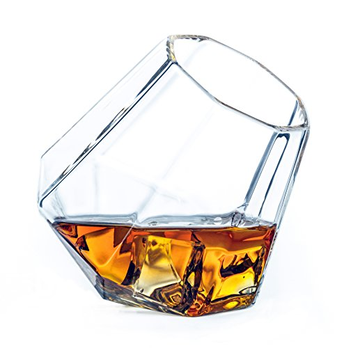 (Dragon Glassware Diamond Whiskey Glasses - Tilted Old Fashioned Tumblers for Whiskey, Wine, Bourbon, Scotch, Brandy - 10 Ounces, Set of 2 (Gift Boxed))