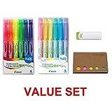#10: Pilot Frixion Light Fluorescent Ink Erasable Highlighter Pen Frixion Eraser, Sticky Notes Value Set (12 colors (Normal + Soft))