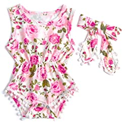 Leapparel Newborn Toddler Baby Girl Floral Sleeveless Bodysuit Romper Jumpsuit Outfit Set Casual Clothes with Headband 24
