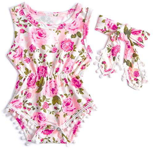 Leapparel 1-2 T Years Old Kids Large Pink Florals Outfit Girls' Ruffles Pom Pom Romper Toddler Jumpsuit Two Piece Sunsuit with Headband Size 100]()