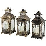 #6: Decorative Antique Candle Holder Hanging & Tabletop hurricane Metal Lantern with Distressed Finish-LED Candle Included – Indoor or Outdoor (Set of 3)