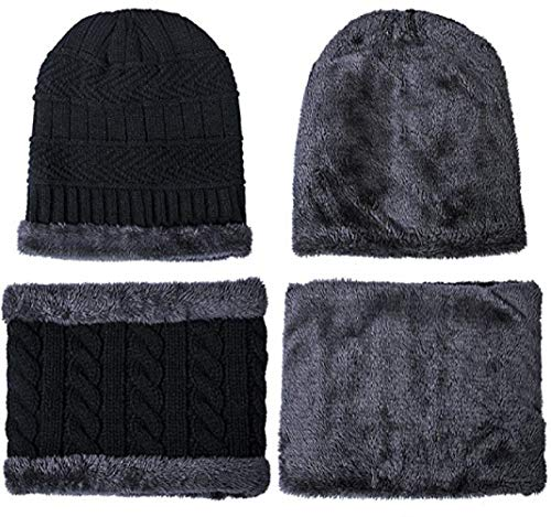 Warm Knitted Beanie Hat and Circle Scarf Set,Fleece Lined Skull Cap Beanie Hat,Snow Knit Skull Cap for Men Women