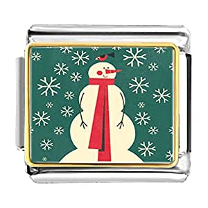 Chicforest Gold Plated Xmas Snowman Wearing Red Scarf Bracelet Link Photo Italian Charm