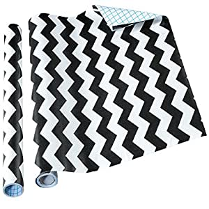 Home-it Contact Paper Self Adhesive Shelf Liner, 18 inches by 6 feet, Black Chevron, 2 Pack