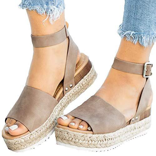 130e878b4 All Platform Wedges. Athlefit Women's Platform Sandals Espadrille Wedge  Ankle Strap Studded Open Toe Sandals
