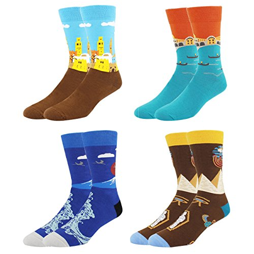 11' Landscape (Happypop Men's Art Fun Cool Novelty Socks 4 Pack)