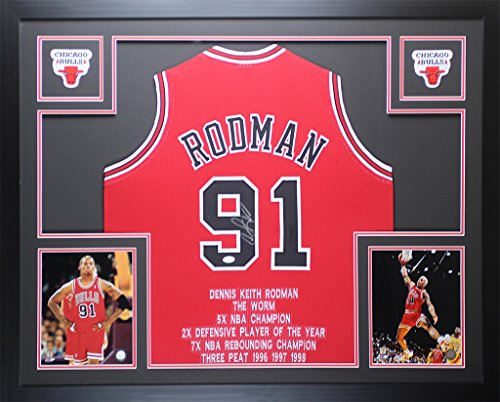 Dennis Rodman Autographed Red Chicago Bulls Jersey - Beautifully Matted and Framed - Hand Signed By Dennis Rodman and Certified Authentic by Auto JSA COA - Includes Certificate of Authenticity Dennis Rodman Hand Signed
