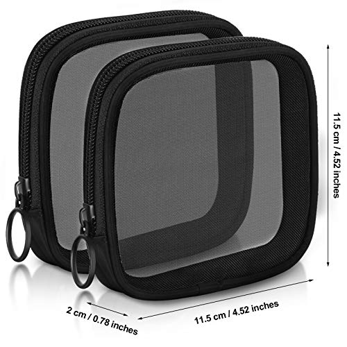 4 Pieces Mesh Travel Toiletry Bag Mesh Zipper Pouch Makeup Bag Cosmetic Bag Portable Travel Toiletry Pouch with Zipper for Daily Toiletries Accessories Purse Bag, Black
