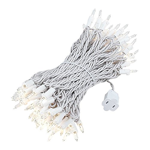Novelty Lights 100 Light Clear Christmas Mini Light Set, White Wire, 50' Long