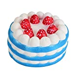 Vibola 1 PCS Cheap Kawaii Strawberry Cake Squishy Slow Rising 10s- 15s Cream Cake Strawberry Yellow Rosy Blue Kids New Year Toy Gift (Blue)