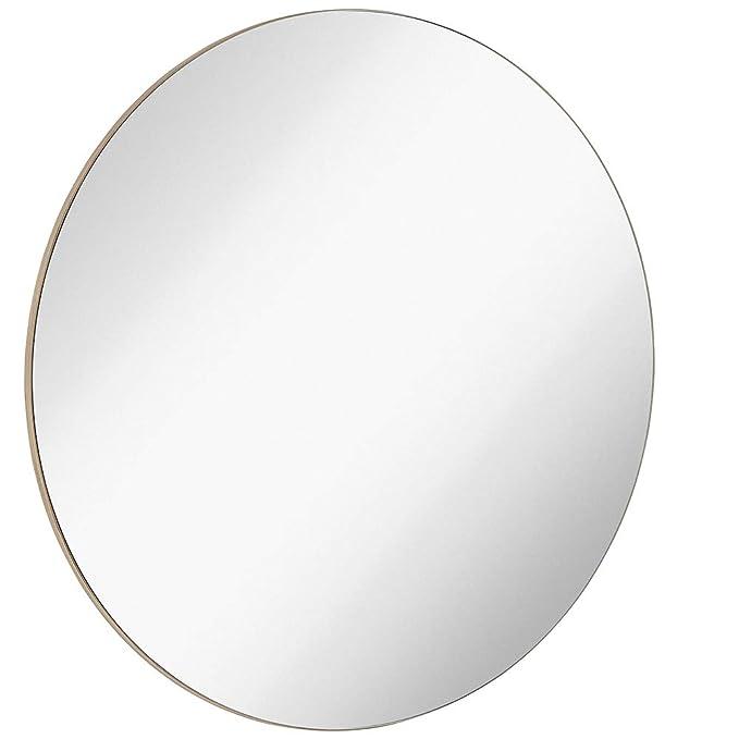 Hamilton Hills Contemporary Thin Natural Wood Edge Circular Wall Mirror | Glass Panel Rounded Circle Design Vanity Mirror (30