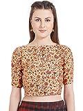 Women's Multicolor Printed Art Silk High Neck design Readymade Blouse Partywear Saree Choli Mirchi Fashion Top