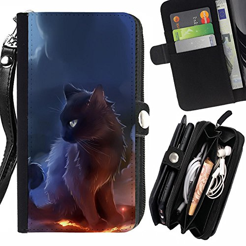 SHIMIN FOR APPLE IPHONE SE / 5 / 5S Black Majestic Cat Zipper Wallet With Strap Card Holder Case ()