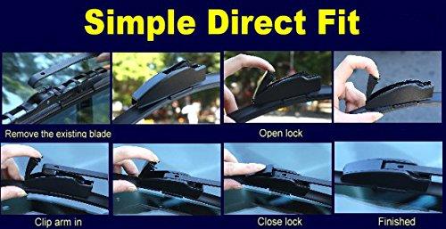 Front /& Rear kit of Aero Flat Windscreen Wiper Blades AD81-621|HQB12