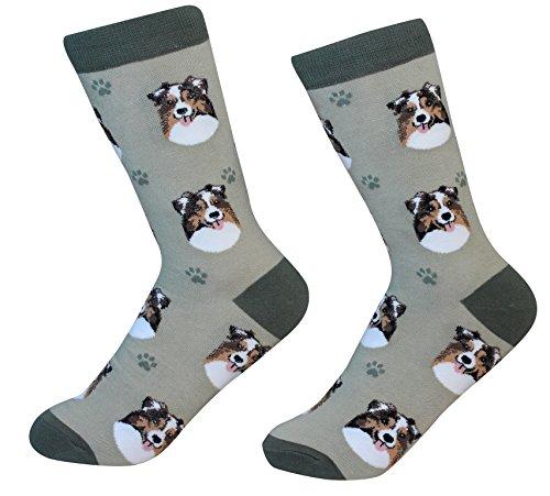 (Australian Shepherd Socks - 200 Needle Count - One size fits most)