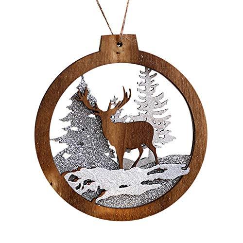 Morrivoe Árbol de Navidad Ornamento Colgante Decoración De Madera Rústico Redondo Hueco Ornamento para La Fiesta de...