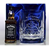 Engraved/Personalised JACK DANIELS BIRTHDAY Crystal Whiskey Glass Tumbler & Miniature in Silk Gift Box For Boys/Girls/Men/Women/18th/21st/30th/40th/50th/60th/65th/70th