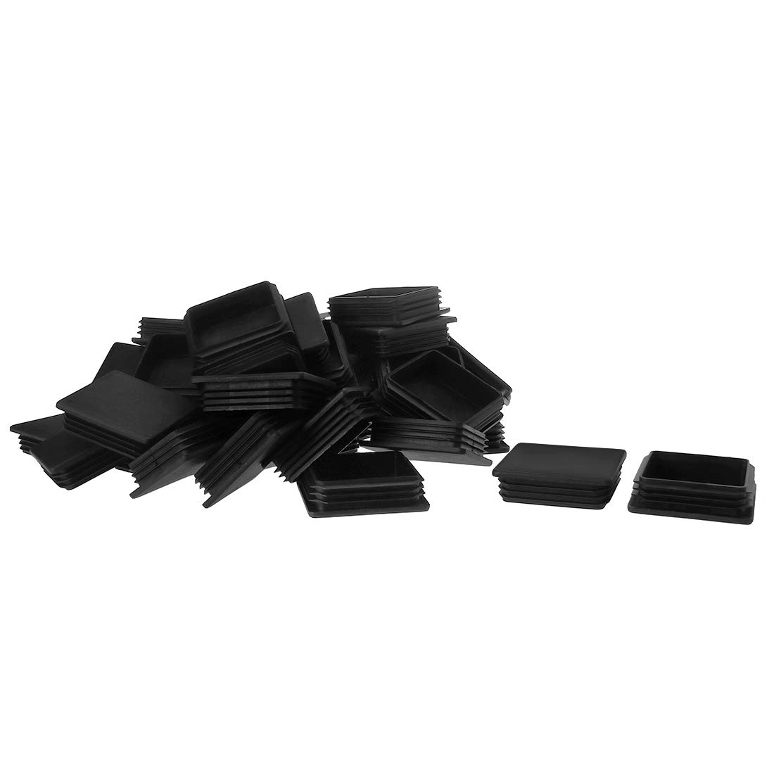 uxcell 40pcs 75 x 75mm Plastic Square Ribbed Tube Inserts End Cover Cap, for 2.83'' to 2.91'' Inner Size, Furniture Chair Table Feet Floor Protector