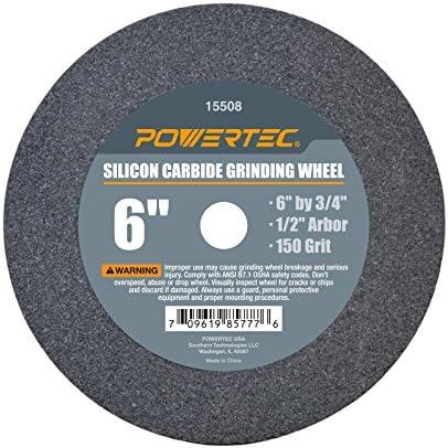 POWERTEC 15508 1/5,1 cm Arbor P150 Siliziumkarbid Schleifscheibe, 15,2 cm X 3/10,2 cm