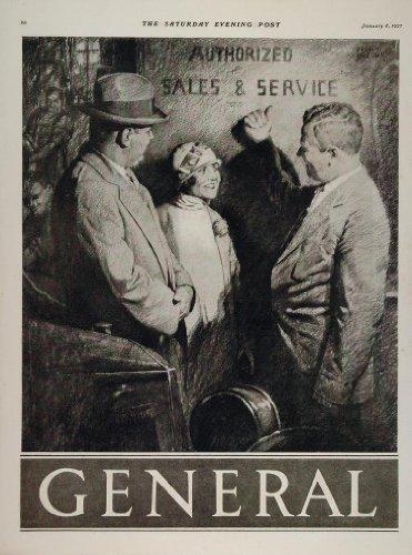 1927 Ad Pneumatics Firestone General Tires Car Businessmen Woman Automobile - Original Print Ad