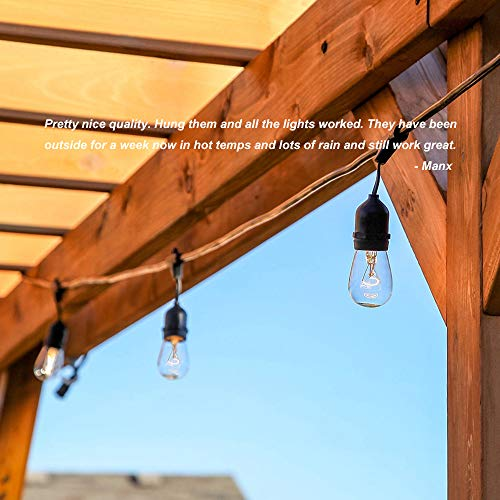 Classyke 48ft Indoor Outdoor String Lights for Patio Garden Yard Deck Cafe Dimmable Weatherproof Commercial Grade [UL Listed] - Incandescent by Classyke (Image #3)