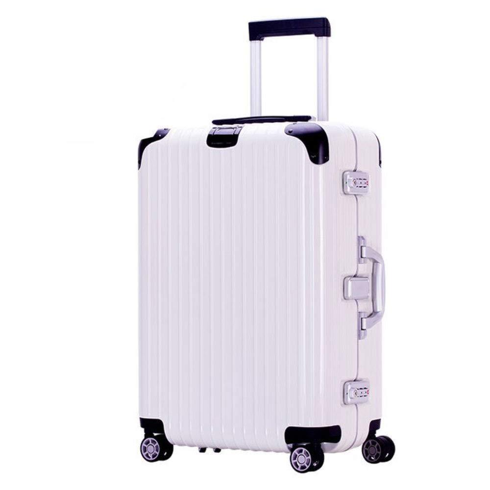 アルミフレームトロリーケース男性と女性のスーツケースユニバーサルホイールビジネス搭乗PCスーツケース(20/24/28インチ) (Color : 白, Size : 20 inch)   B07RG318DX