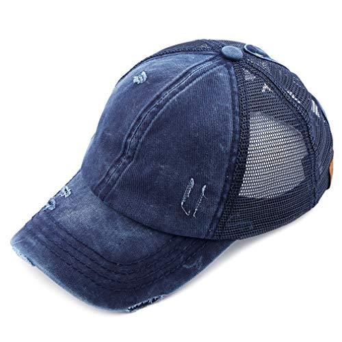 C.C Hatsandscarf Exclusives Washed Distressed Cotton Denim Ponytail Hat Adjustable Baseball Cap (BT-13) -